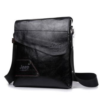 คนจรส่งกระเป๋าสะพายไหล่กระเป๋าเดียวธุรกิจกระเป๋าหนังกระเป๋าสะพาย (สีดำ)