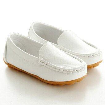 I02 ขาวใหม่ผู้หญิงแฟชั่นผู้ชายรองเท้าเด็กน่ารักร้อนหนังรองเท้าพื้นรองเท้ายางตะปูแบนขนาด: 21 ที่ 30