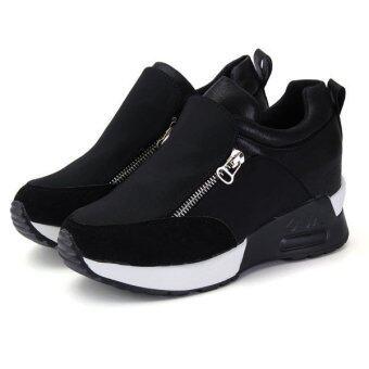 รองเท้าแฟชั่นผู้หญิงรองเท้ากีฬาวิ่งเข้าไปรูด Flatform เดินรองเท้าผ้าใบ