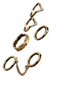 Fancyqube Fashion แหวนคริสตัลแบบง่าย ๆ จากผู้ร่วมมือสวมถุงมือโซ่รอบชุดทอง