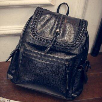 Premium Bag กระเป๋าเป้สะพายหลัง กระเป๋าเป้เกาหลี รุ่น PB016 (สีดำ)