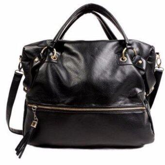 Good things For u กระเป๋าสะพายข้างแฟชั่นเกาหลีผู้หญิง คาสสิค หนัง PU รุ่น 0047HB - สีดำ