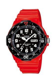 Casio Standard นาฬิกาข้อมือผู้ชาย สีแดง สายเรซิ่น รุ่น MRW-200HC-4B