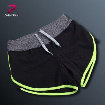 Perfect Pairs กางเกงขาสั้น ออกกำลังกาย สีดำแถบเขียว - มีซับในทั้งตัว ขอบเอวกระชับ มีเชือกผูก