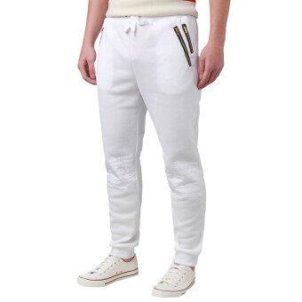 Qiaosha กางเกงฮาเร็มกางเกงหลวม ๆ เต้นชุดกีฬาใหม่ของนักกีฬาชายกางเกงลำลองขนาด M-XL ขาว