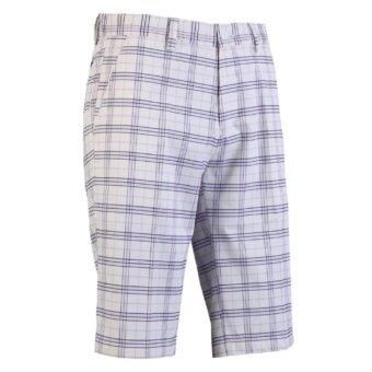EXCEED กางเกงกอล์ฟขาสั้น KUZ010 #1 PGM Men's Golf Short Gentleman Plaid Quick Dry Sport Trousers Summer Breathable Short XXS-3XL (White and Purple)