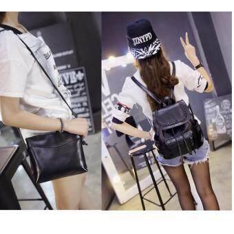Peimm Modello Fashions Korea กระเป๋าเป้สะพายหลัง + กระเป๋าสะพาย PU สไตส์เกาหลี