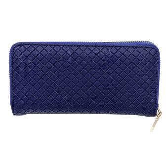 นิวแฟชั่นผู้หญิงกระเป๋าสตางค์ที่เก็บบัตรคลัตช์หนังยาวเรื่องเงิน (สีน้ำเงิน)