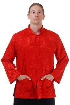 Princess of asia เสื้อกังฟู เสื้อจีน เสื้อตรุษจีน เสื้อจีนแขนยาว สีแดงสด