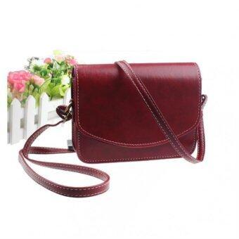 กระเป๋าสะพายสตรีกระเป๋าถือกระเป๋านักเรียนหนังเทียมสารเรโทรสีแดง