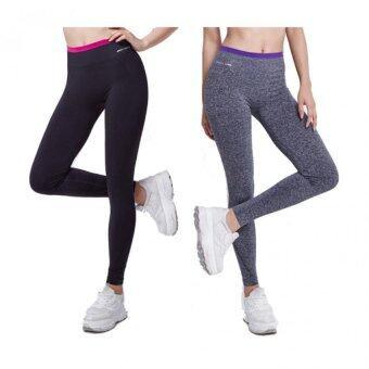 Exercise Pants ( Pack2) - เซ็ทกางเกงออกกำลังกาย โยคะ พิลาทิส ขายาวขอบสี ดำ +เทา 2ตัว