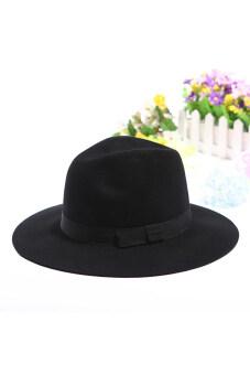 Gracefulvara หญิงสวมหมวกปีกกว้างหมวกวินเทจริบบิ้นหมวก (สีดำ)