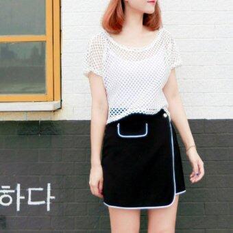 korea เสื้อแฟชั้น ผ้าตาข่าย แขนสั้น คอกลม มีซับใน (สีขาว)รุ่น S554