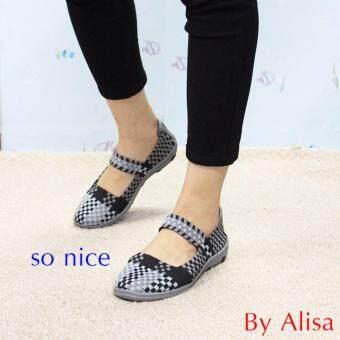 Alisa Shoes รองเท้าผ้าใบสปอร์ตแฟชั่นComfort รุ่น RJ205 Black Grey