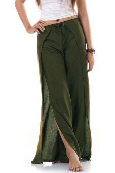 Princess of Asia กางเกงผ่าข้าง กางเกงแบบผูก กางเกงพัน (สีเขียว)