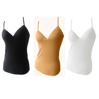Anda Zcret Bra เสื้อชั้นในสายเดี่ยว บราในตัว Sexy Bra Top 1เซ็ท 3ตัว (สีดำ/เนื้อ/ขาวออฟไวท์)