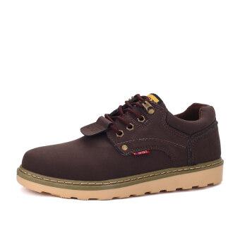 นิวแฟชั่นลำลองรองเท้าหนังบุรุษรองเท้าทำงานรองเท้าธุรกิจตัดต่ำสีน้ำตาล