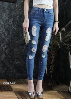 Platinum Fashion กางเกงยีนส์ขายาวเอวสูง ทรงสกินนี่ แต่งขาด รุ่นFF5238
