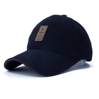 แฟชั่นหมวกเบสบอลกีฬากอล์ฟเพศ Snapback กลางแจ้งหมวกแข็งธรรมดาสำหรับมนุษย์กระดูก (สีกรมท่า)