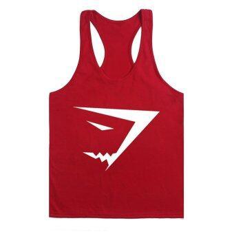 เสื้อบุรุษผ้าเสื้อกล้ามห้องออกกำลังกายพร้อมอุปกรณ์ออกกำลังกายเพาะกายสายแร่น้ำ gymshark กีฬาเสื้อยืดสีแดงกับขาวตรา