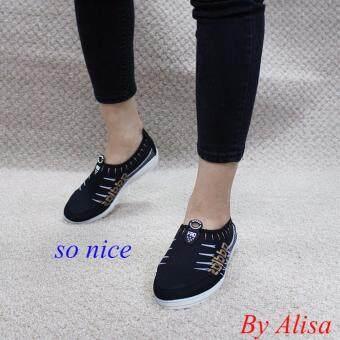 Alisa Shoes รองเท้าผ้าใบแฟชั่น รุ่น 99Q021 Black