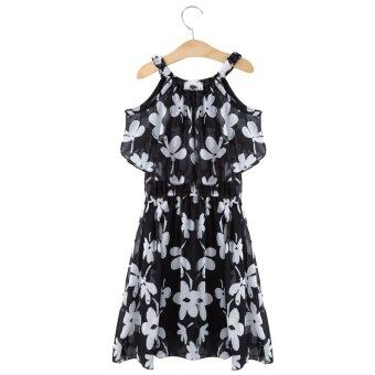 Harga Fashion Girls Floral Printed Chiffon Princess Dress
