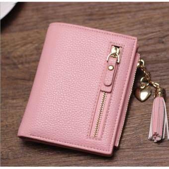 Korean style กระเป๋าสตางค์ผู้หญิงใบสั้น รุ่น AC-001PK(สีชมพู)