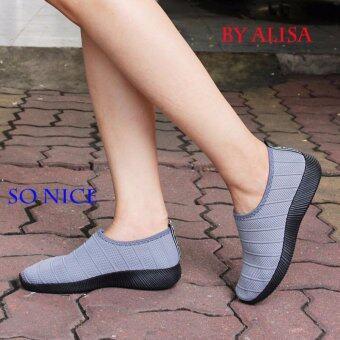 Alisa Shoes รองเท้าผ้าใบผู้หญิงแฟชั่น รุ่น 99Q032 Grey