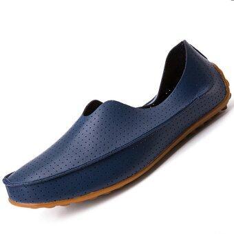 PINSV รองเท้าหนังผู้ชายหายใจสบาย ๆ แฟลต Loafers แอบออน (กรมท่า)