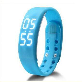 Smartwatches นาฬิกาข้อมือนับแคลอรี่ นับจำนวนก้าวเดิน วัดอุณภูมิและการนอนหลับ (สีฟ้า)