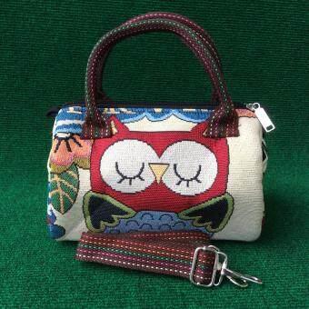 กระเป๋าผ้าทอ HandMade ลายนกฮูกทรงหมอน(พร้อมสายสะพาย) รุ่น HUG 087