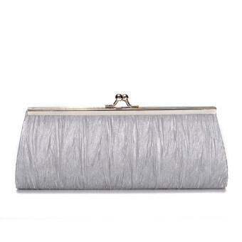 จัดส่งฟรีกระเป๋าถือสตรีสวยงามปกเสื้อแฟชั่น 2559 ซาตินจับจีบถุงเย็นสามงานหญิงสาวโซ่เงินสูงสีเทา