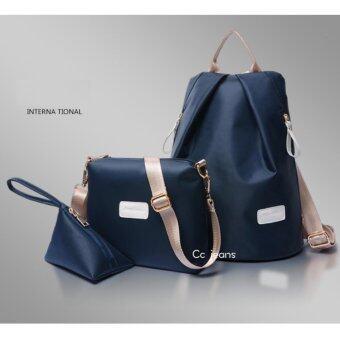 Cc jeans กระเป๋าเป้ กระเป๋าสะพายข้างสีดำ กระเป๋าเซ็ท 3 ใบ No.111(Blue)