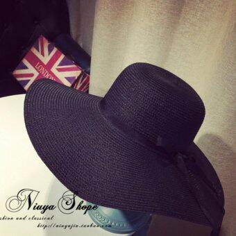 KPshop หมวกแฟชั่น หมวกสาน หมวกใส่ไปทะเล รุ่น LH-009 (สีดำ)