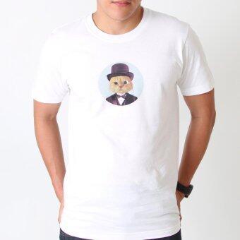 POLOMAKER เสื้อยืด TLO01 สีขาว สกรีนลาย คุณชายแมว (ช)