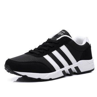แฟชั่นรองเท้าผ้าใบอีสานสำหรับรองเท้าวิ่งชายกีฬา (สีดำ)