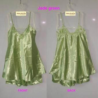 Phasarin ชุดนอนผ้าซาติน เสื้อสายเดี่ยว+กางเกงขาสั้น / สีเขียวหยก