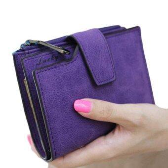 สตรีกระเป๋าสตางค์หนังสีเมจิกพับครึ่งมินิที่เก็บบัตรเงินกระเป๋าสตางค์สีม่วง