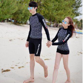 Dolly ชุดว่ายน้ำชาย ชุดดำน้ำ เสื้อแขนยาวกางเกง3ส่วน (สีดำ) รุ่น 16008