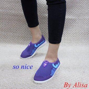 Alisa Shoes รองเท้าผ้าใบผู้หญิงแฟชั่น รุ่น 99Q012 Purple