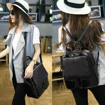 Wichu Bag กระเป๋าสะพายหลัง ผู้หญิง กระเป๋าแฟชั่น กระเป๋าเป้เกาหลี รุ่น LP-086 (สีดำ)