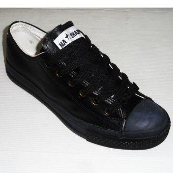 Mashare รองเท้าผ้าใบแฟชั่น มาแชร์หนัง M-15 สีดำนักเรียน