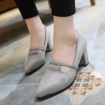 นิ้วชี้อ้วนสตรีหนังส้นเท้ารองเท้าลำลองสีเทา