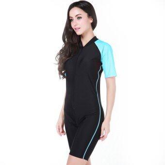 คน & ออกแบบซิปสตรีป้องกันแสงแดดผ้าไนลอนชุดว่ายน้ำดำน้ำสนอร์เกิลชอร์ตี้แขนสั้น (สีน้ำเงิน)-ระหว่างประเทศ