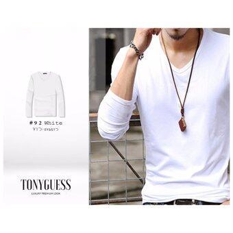TONYGUESS เสื้อยืดแขนยาว + Cotton&Spandex + สีดิบโคตรเท่ห์ 1ตัว (สีขาว คอวี)(Int:M)