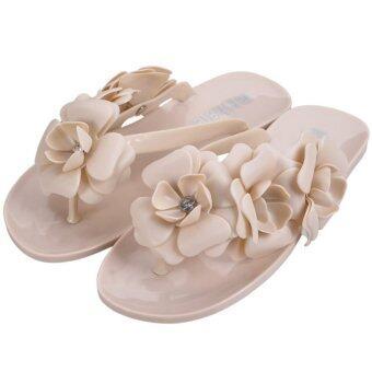 ในฤดูร้อนพวกรองเท้าแตะที่มีดอกสวยหวานดอกไม้ Flip Flops (สีเบจ)