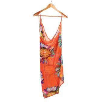 โอ้หญิงสาวเซ็กซี่ร้อนบิกินี่ลายดอกชีฟองชุดว่ายน้ำชายหาดแต่งตัวปกปิดห่อส้ม-ในประเทศ