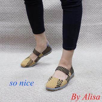 Alisa Shoes รองเท้าผ้าใบผู้หญิงแฟชั่นComfort รุ่น F763 Beige