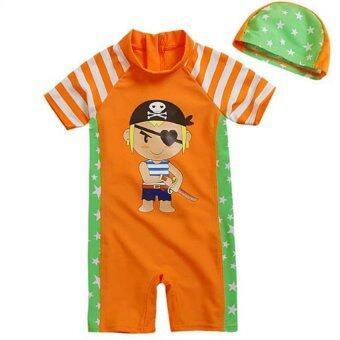 Tankidsshop ชุดว่ายน้ำเด็กชาย สีส้มวันพีช,สกรีนลายโจรสลัดตาเดียวน่ารัก พร้อมหมวก