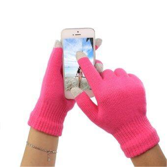 ถุงมือกันหนาวสปอตทัชสกรีน (สีชมพู)Pink Sport Touch Screen Unisex Winter Gloves, Smartphone Tablet iPhone iPad S